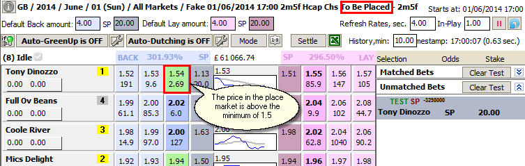 The price of the horse in the place market is above the set minimum, so we're backing on it at SP